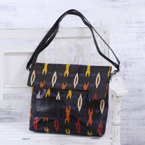 Handcrafted Adjustable Batik Leather Sling from India 'Beautiful Trend'