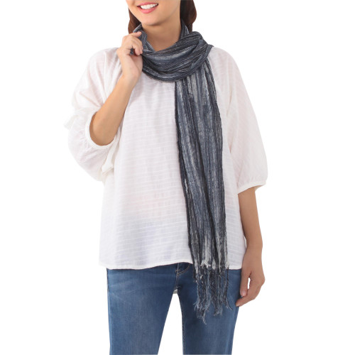 Handwoven Batik Cotton Wrap Scarf in Navy from Thailand 'Navy Paths'