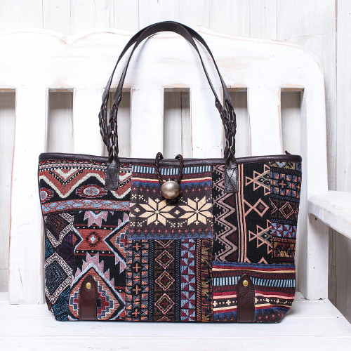 Dark Patchwork Cotton Blend Shoulder Bag from Thailand 'World of Geometry'
