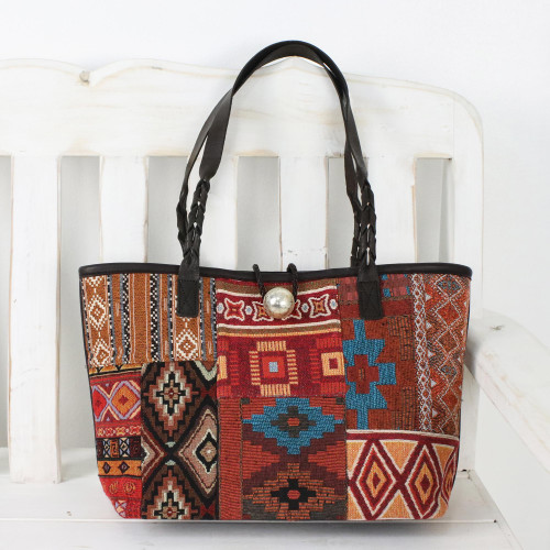 Multicolor Patchwork Cotton Blend Shoulder Bag from Thailand 'Desert Geometry'