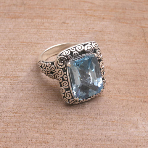 Eleven Carat Blue Topaz and Silver Cocktail Ring 'Water Temple'