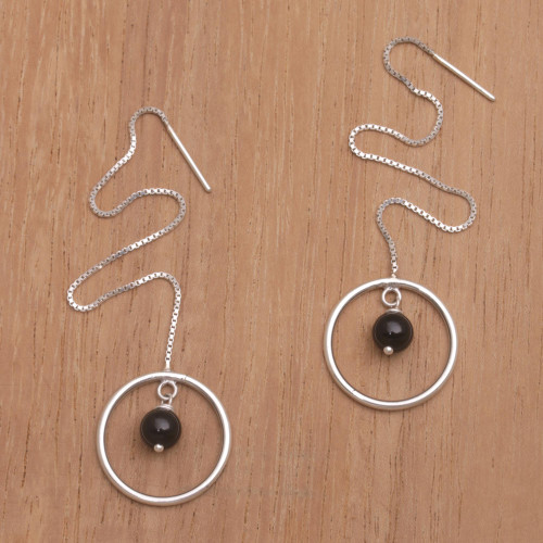Onyx and Sterling Silver Threader Earrings from Bali 'Soulful Rings'