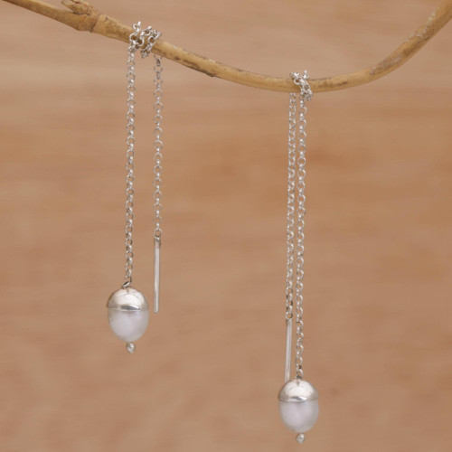 Cultured Pearl and Silver Threader Earrings from Bali 'Glowing Stalks'