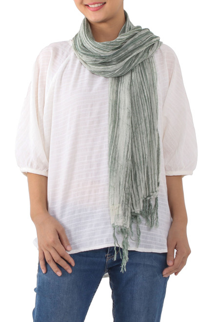 Handwoven Batik Cotton Wrap Scarf in Moss from Thailand 'Mossy Paths'