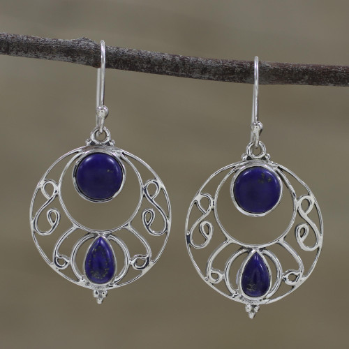 Round Lapis Lazuli and Silver Dangle Earrings from India 'Blue Majesty'
