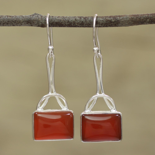 Onyx Rectangular Dangle Earrings from India 'Mystical Gaze in Scarlet'