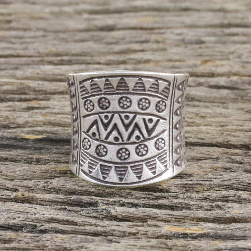 Sterling Silver Wrap Ring from Thailand Hill Tribes 'Exotic Silver'