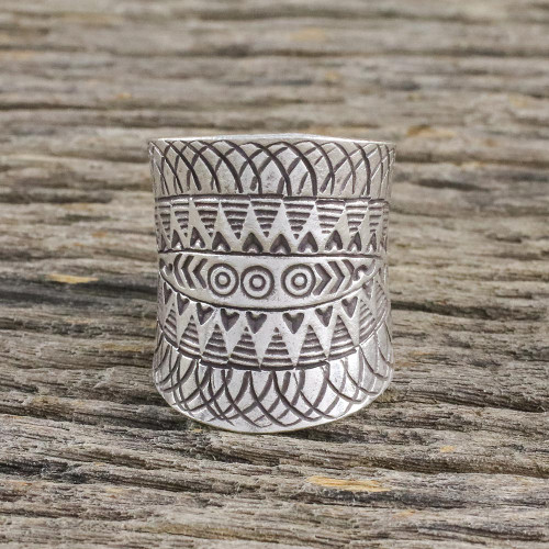 Handcrafted Sterling Silver Wrap Ring from Thailand 'Exotic Accent'