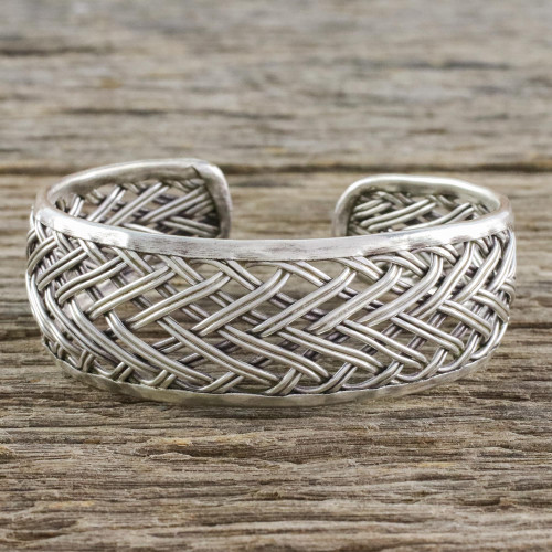 Handcrafted Sterling Silver Cuff Bracelet from Thailand 'Silver Weave'