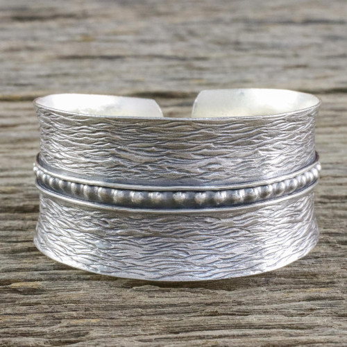Handcrafted Thai Hill Tribe Sterling Silver Cuff Bracelet 'Touch of Thailand'