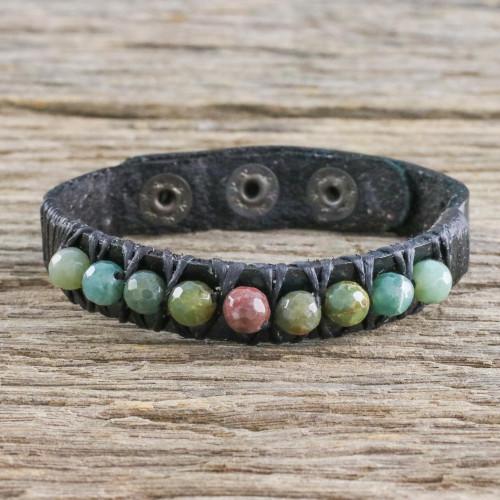 Bohemian Leather and Agate Bead Wristband Bracelet 'Rock Walk'
