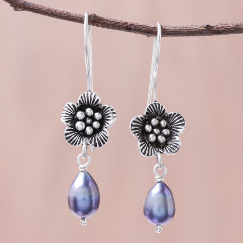 Floral Cultured Pearl Dangle Earrings from Thailand 'Apricot Blossom'