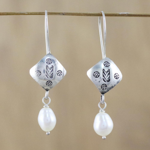 Cultured Pearl Hill Tribe Silver Dangle Earrings 'Hill Tribe Cool'
