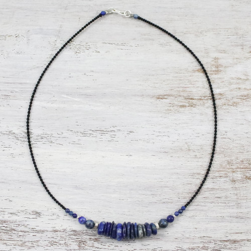 Lapis Lazuli and 950 Silver Beaded Pendant Necklace 'Singing the Blues'