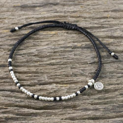 Bohemian Black Cord and 950 Silver Beaded Bracelet 'Bohemian Life in Black'