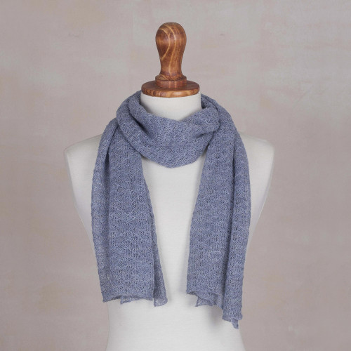 100 Baby Alpaca Wrap Scarf in Pastel Blue from Peru 'Wavy Texture in Pastel Blue'
