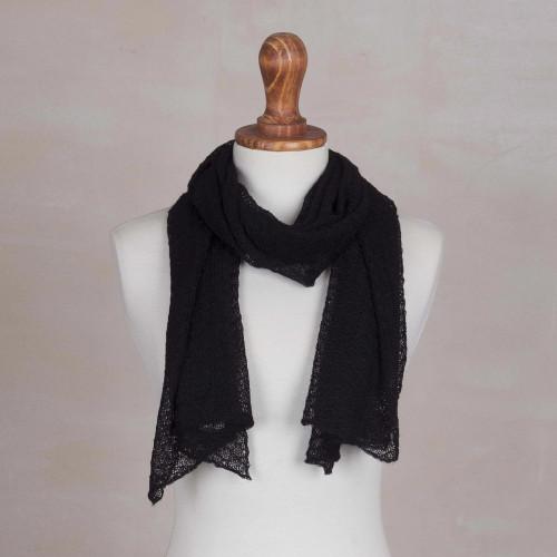 Textured 100 Baby Alpaca Wrap Scarf in Black from Peru 'Wavy Texture in Black'