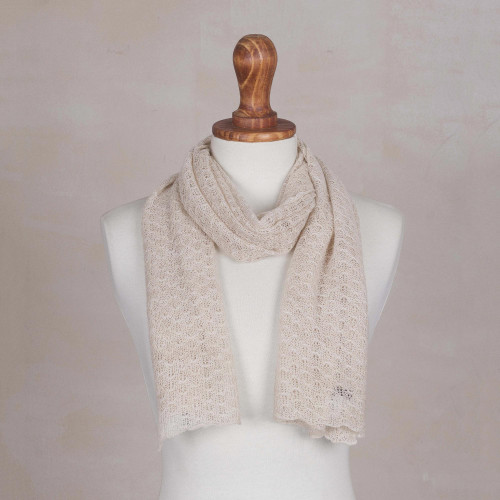 Textured 100 Baby Alpaca Wrap Scarf in Champagne from Peru 'Wavy Texture in Champagne'