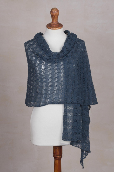 Textured 100 Baby Alpaca Shawl in Teal from Peru 'Dreamy Texture in Teal'