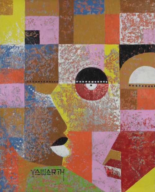 Bold and Colorful Cubist Painting of Abstract Faces 'Faces'