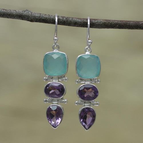 Amethyst and Chalcedony Dangle Earrings from India 'Glittering Muse'