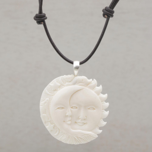 Handcrafted Sun and Moon Bone Pendant Necklace from Bali 'Stellar Guardians'