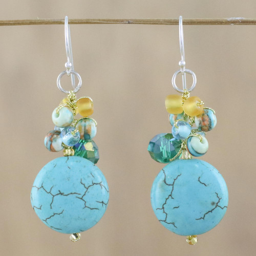 Blue Calcite and Glass Bead Dangle Earrings from Thailand 'Blue Circles'