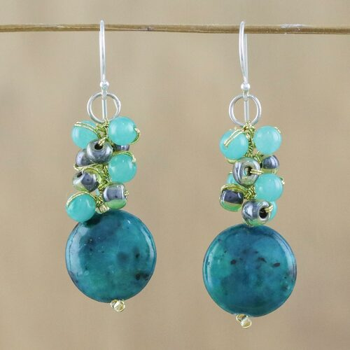 Serpentine and Quartz Dangle Earrings from Thailand 'Fun Circles in Teal'