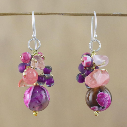 Pink Quartz and Glass Bead Dangle Earrings from Thailand 'Lovely Blend in Pink'
