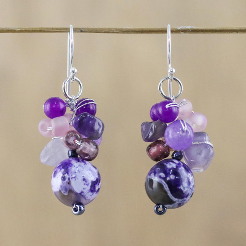 Purple Quartz and Amethyst Dangle Earrings from Thailand 'Lovely Blend in Purple'