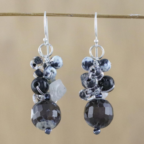 Quartz and Onyx Dangle Earrings from Thailand 'Lovely Blend in Black'
