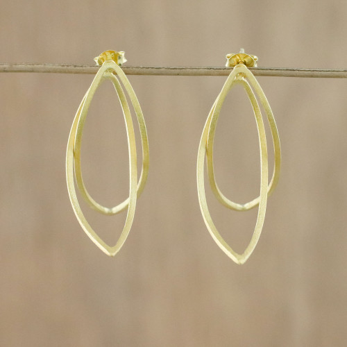 Thai Petal Shaped Gold Plated Sterling Silver Drop Earrings 'Golden Lotus Petals'
