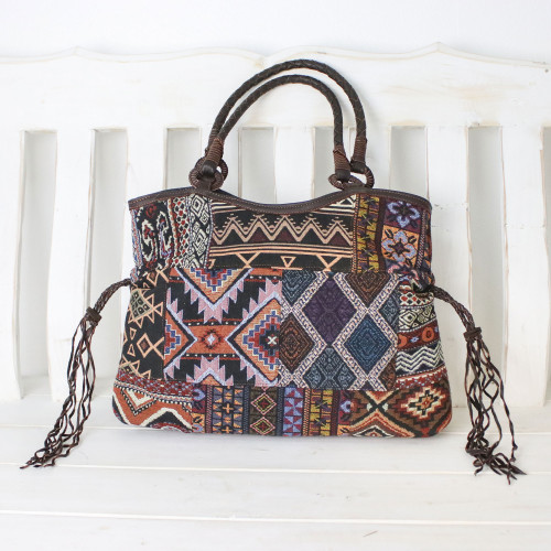 Multicolored Cotton Blend Shoulder Bag with Leather Trim 'Chiang Mai Patchwork in Navy'