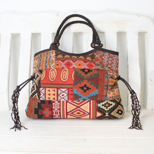 Artisan Crafted Multicolored Patchwork Shoulder Bag 'Chiang Mai Patchwork in Red'