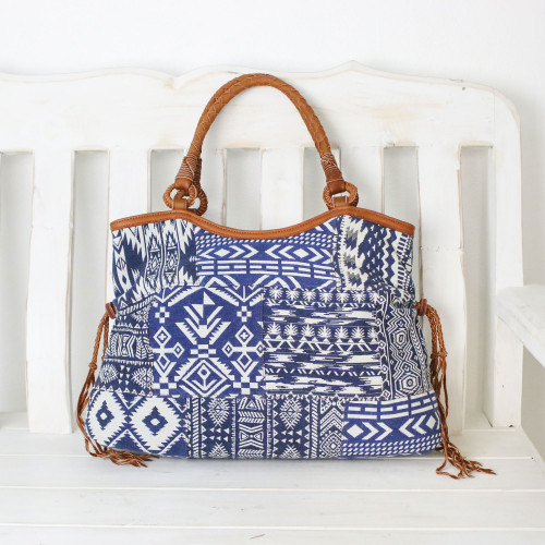 Patchwork Cotton Blend Shoulder Bag in Blue and White 'Chiang Mai Patchwork in Blue'