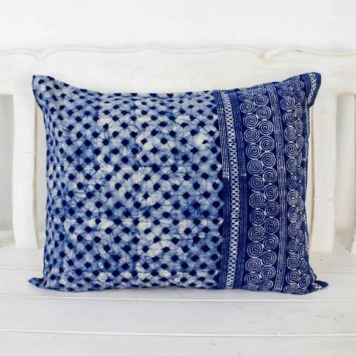 Indigo Cotton Batik Rectangular Cushion Cover 'Modern Indigo'