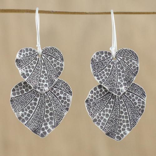 Lotus Leaf Karen Hill Tribe Silver 950 Dangle Earrings 'Lotus Garden'