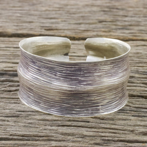 Sterling Silver Cuff Bracelet from Thai Hill Tribes 'Silver Way'