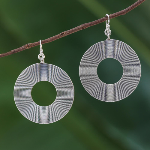 Sterling Silver Circle Dangle Earrings from Thai Hill Tribe 'For the Record'
