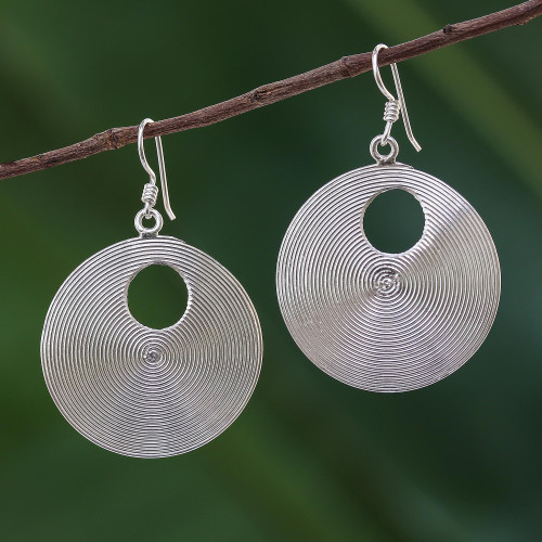 Spiral Motif Sterling Silver Dangle Earrings from Thailand 'Spiral Loops'