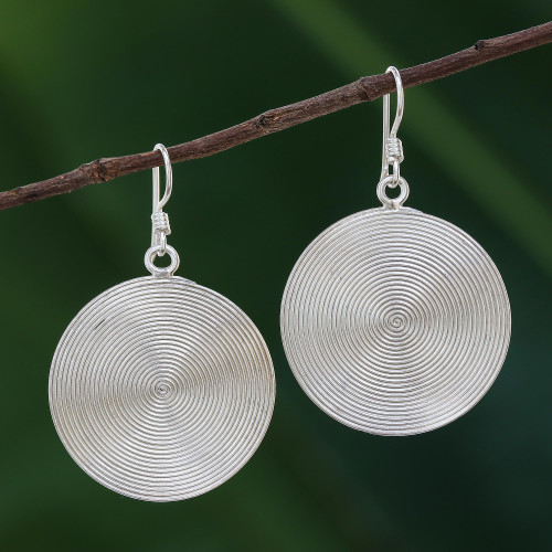 Circle Spiral Sterling Silver Dangle Earrings from Thailand 'Spiral Circles'