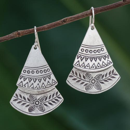 Floral Sterling Silver Dangle Earrings from Thailand 'Fan of Flowers'