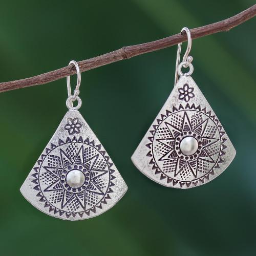 Fan-Shaped Sterling Silver Dangle Earrings from Thailand 'Starry Fans'