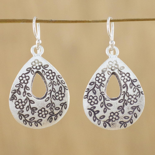 Drop-Shaped Floral Sterling Silver Earrings from Thailand 'Floral Loops'