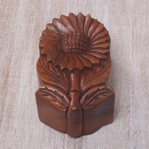 Hand Carved Wood Sunflower Puzzle Box from Bali 'Sunflower Secret'