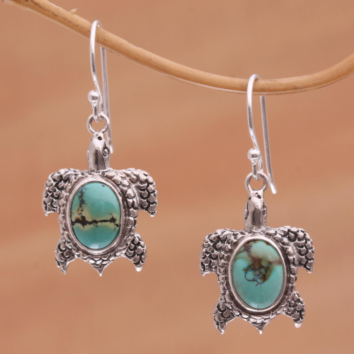Reconstituted Turquoise Turtle Earrings in Sterling Silver 'Turtle Pond'