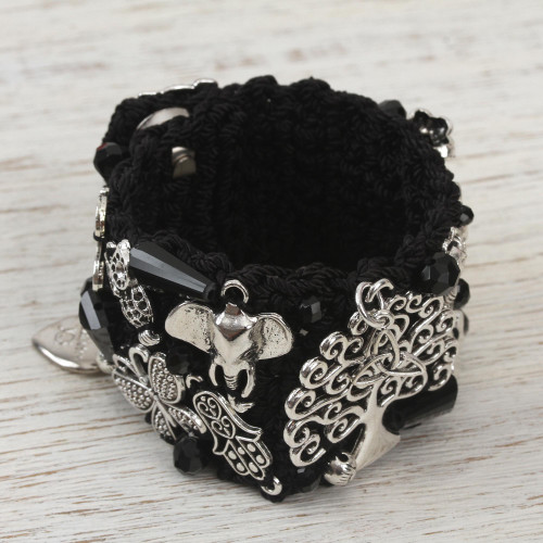 Handcrafted Bohemian Wristband Bracelet in Black from Mexico 'Union and Protection'