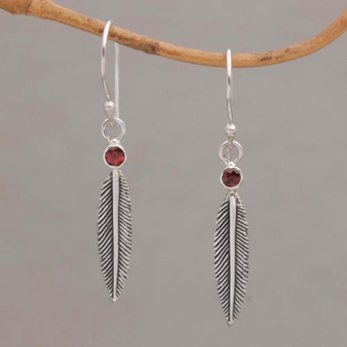 Garnet Feather-Shaped Dangle Earrings from Bali 'Phoenix Feathers'