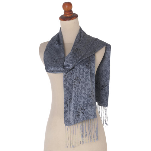 Blue and Black Maze Silk Scarf with Fringe and Gift Box 'Lovely Maze'