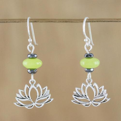 Handmade Agate and Hematite Lotus Dangle Earrings 'Lotus Gleam'